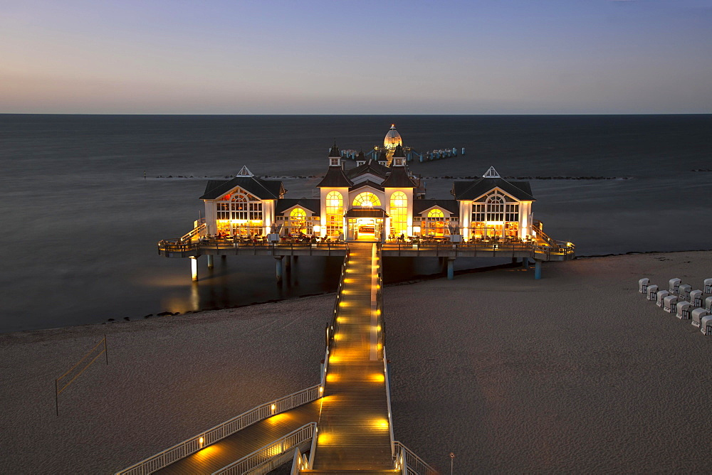 New pier, illuminated, dusk, Baltic seaside resort Sellin, Rügen Island, Mecklenburg-Western Pomerania, Germany, Europe
