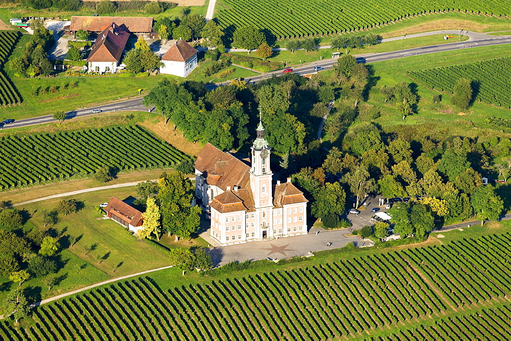 Aerial view of Birnau Pilgrimage Church, Uhldingen Muhlhofen, Baden-Württemberg, Germany, Europe