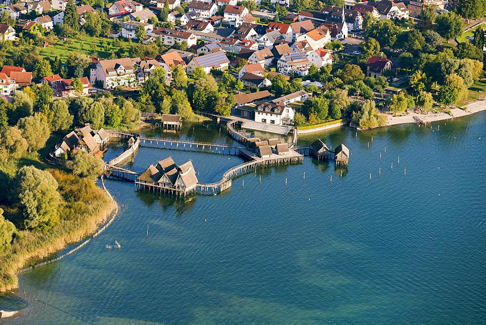 Aerial view of stilt houses, village of Unteruhldingen, Uhldingen Muhlhofen, Lake Constance, Baden-Württemberg, Germany, Europe