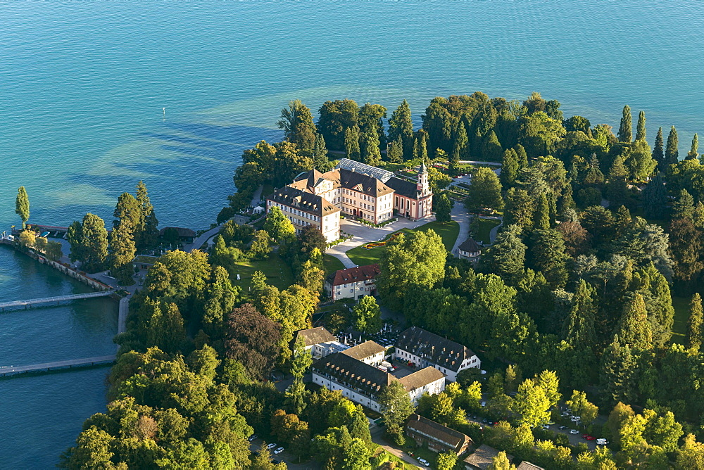 Aerial view, Mainau Island, castle, Lake Constance, Baden-Württemberg, Germany, Europe