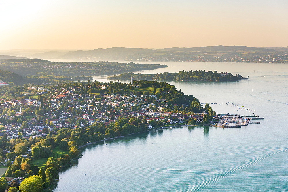 Aerial view, Lake Überlingen, Konstanz, Baden-Württemberg, Germany, Europe