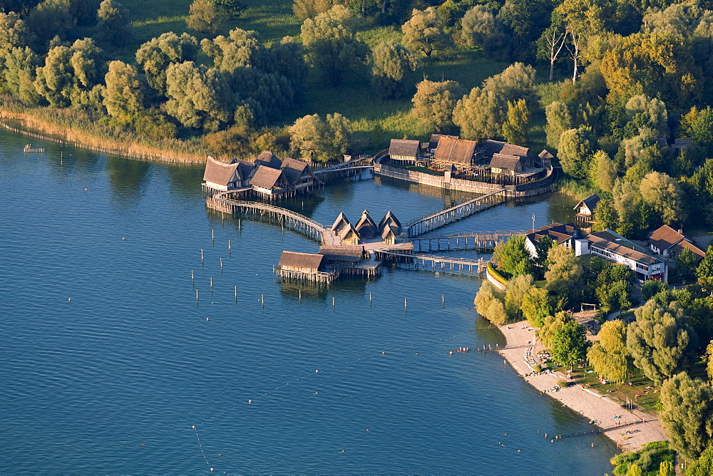 Aerial view of stilt houses, village of Unteruhldingen, Uhldingen Muhlhofen, Lake Constance, Baden-Württemberg, Germany, Europe