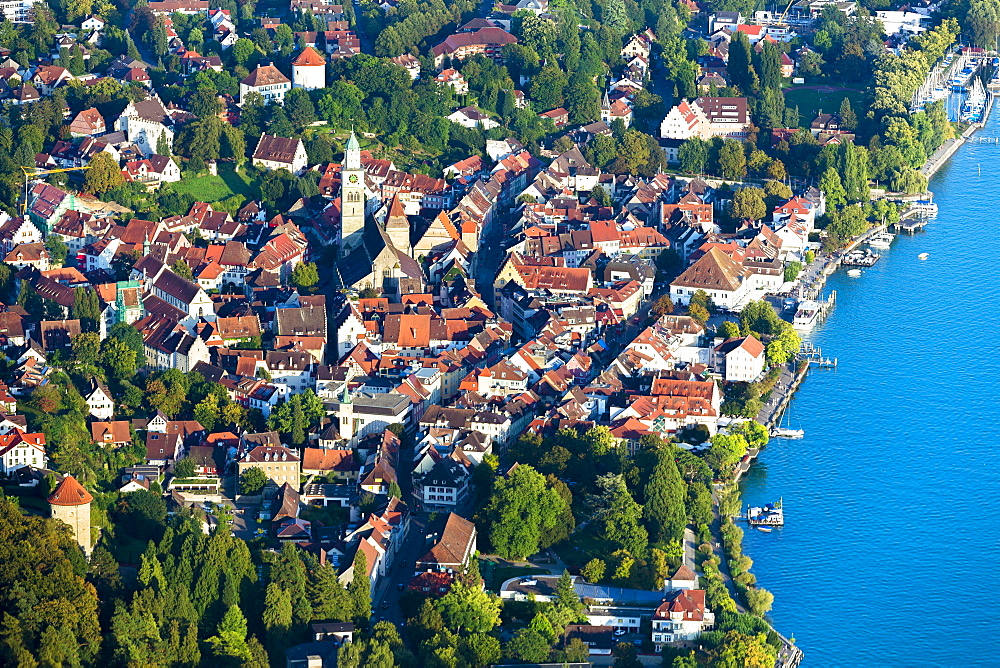 Aerial view, Überlingen, Lake Constance, Baden-Württemberg, Germany, Europe