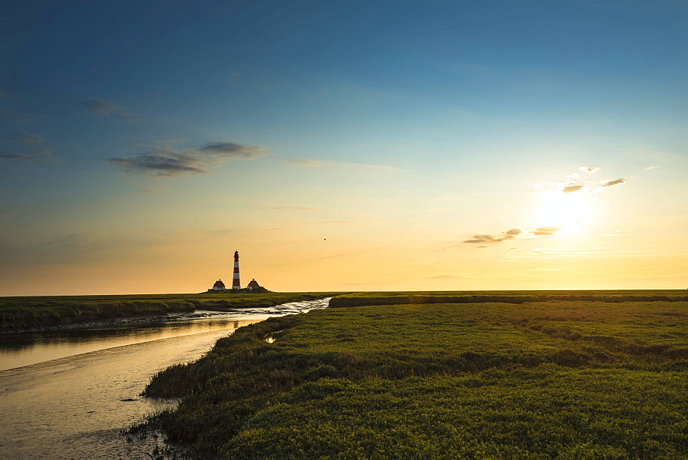 Creek in the saltmarshes in front of Westerhever Lighthouse in the evening sun, Westerhever, Eiderstedt, North Frisia, Schleswig-Holstein, Germany, Europe
