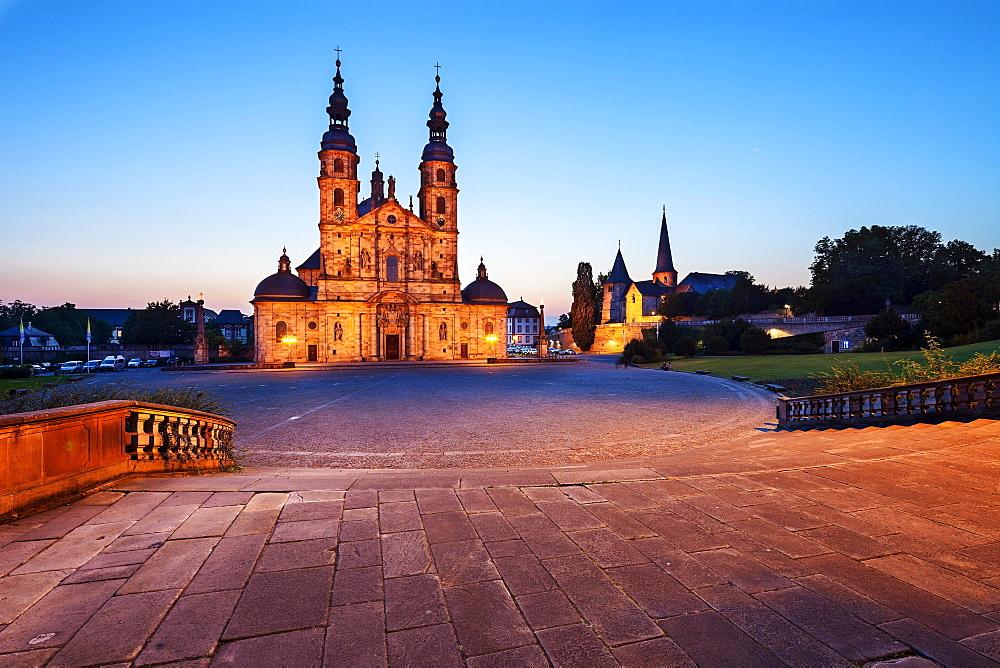 Cathedral at dusk, Fulda, Hesse, Germany, Europe