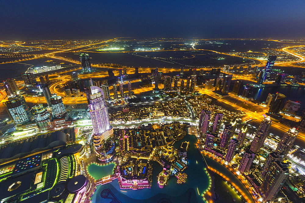 View from Burj Khalifa observation deck, Dubai Fountain, The Address Downtown Burj, Dubai Mall and Souk Al Bahar, night, Downtown Dubai, United Arab Emirates, Asia