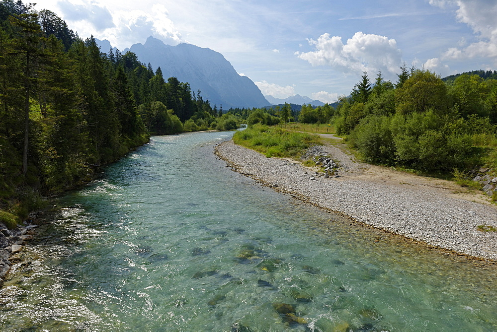 Isar and Karwendel mountains, Isar nature trail, Krün, Mittenwald, Upper Bavaria, Bavaria, Germany, Europe