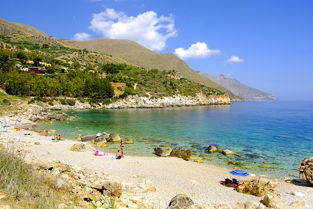 Cala Mazzo di Sciacca bay, Callamazzo beach, Zingaro Nature Reserve, near Castellammare, Sicily, Italy, Europe