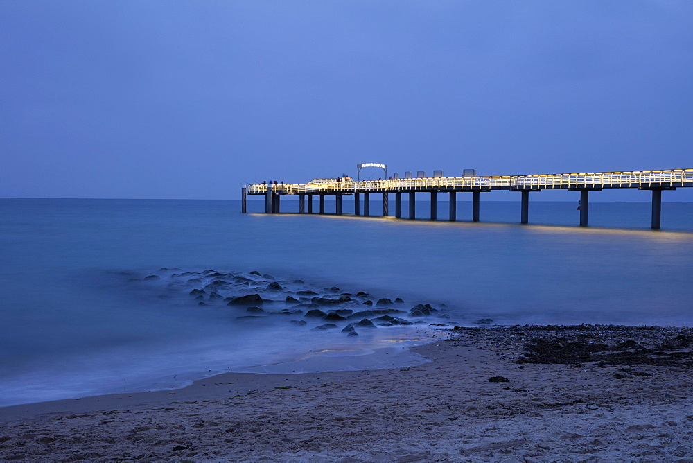 Illuminated pier, Niendorf, Baltic Sea, Timmendorfer Strand, Lübeck Bay, Schleswig-Holstein, Germany, Europe