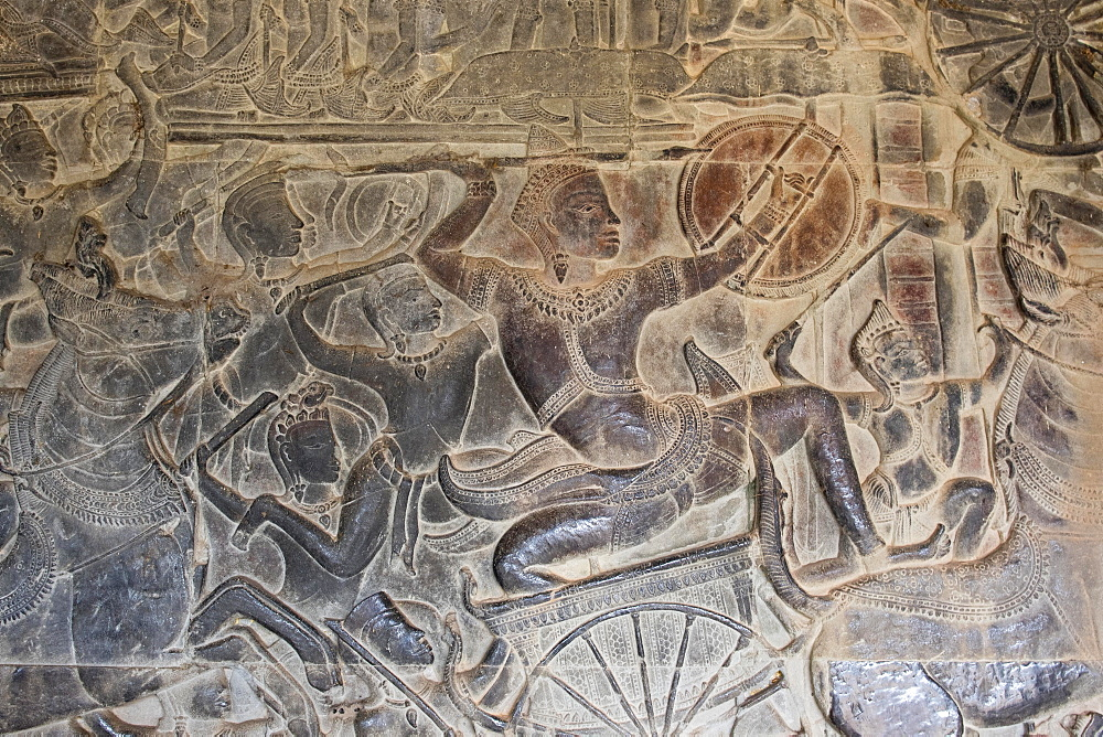 Bas-relief, Angkor Wat, Cambodia, Asia