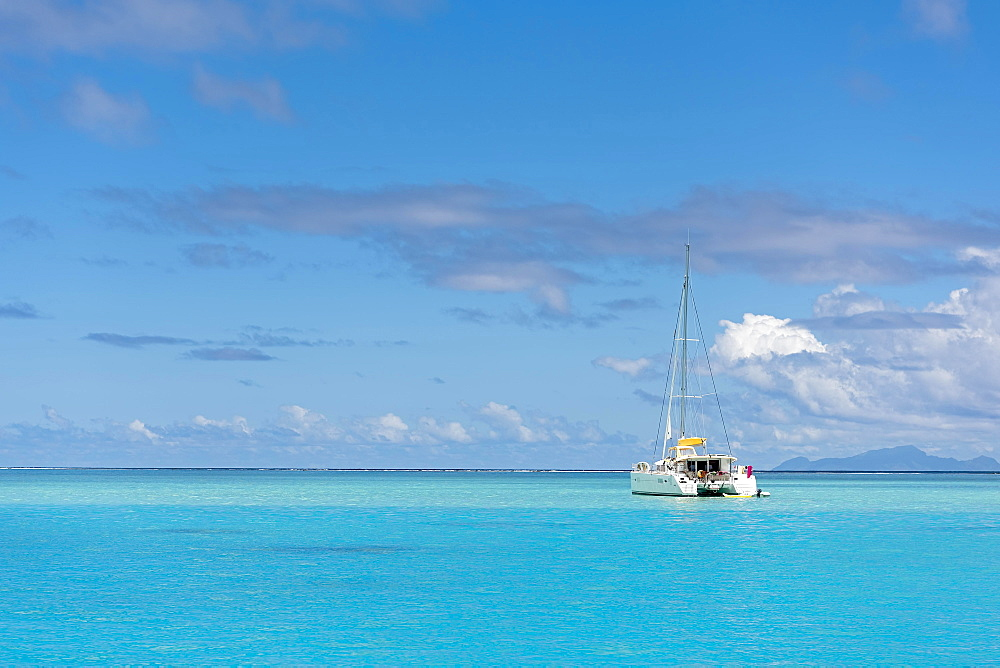 Yacht in lagoon, South Pacific, Raiatea, French Polynesia, Oceania