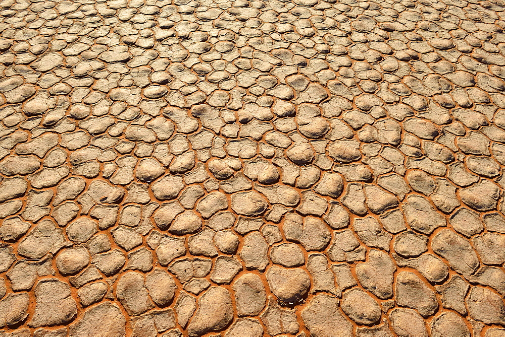 Cracked mud patterns on the playa, Tassili n'Ajjer National Park, Sahara desert, Algeria, Africa