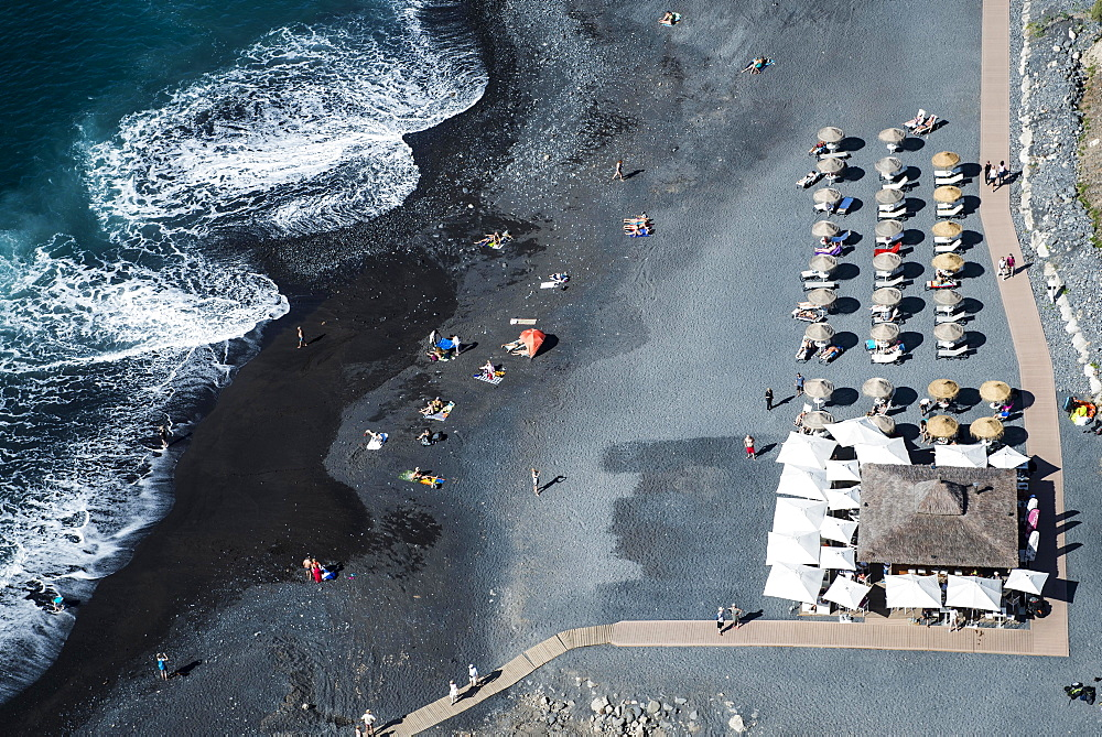 Aerial view, beach with black sand, sun loungers and parasols, Playa de La Enramada, Atlantic Coast, South Coast, Costa Adeje, Tenerife, Spain, Europe