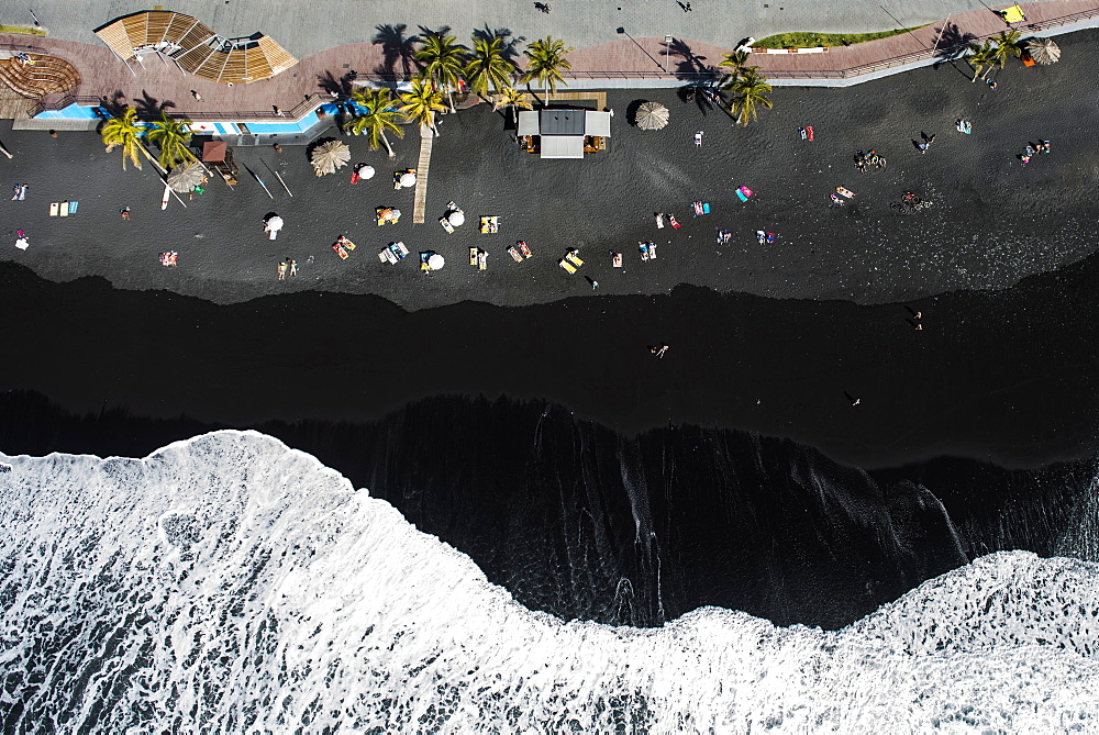 Surf, bathing people on black lava beach, Puerto Naos, La Palma, Canary Islands, Spain, Europe