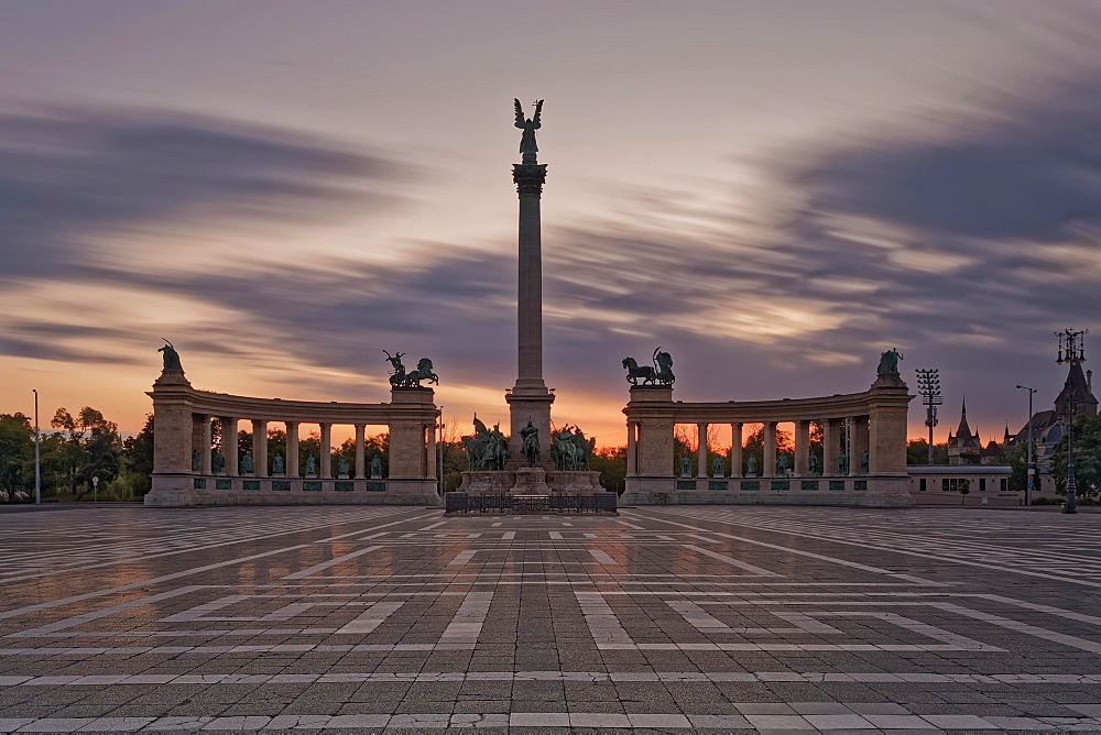 Millenium Monument at Heroes' Square, sunset, Budapest, Hungary, Europe
