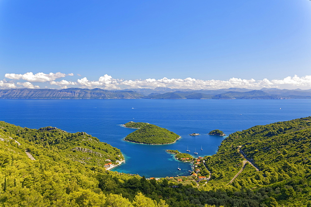 Port of Prozurska Luka with a view of the Croatian mainland, island Mljet, Dubrovnik-Neretva, Dalmatia, Croatia, Europe