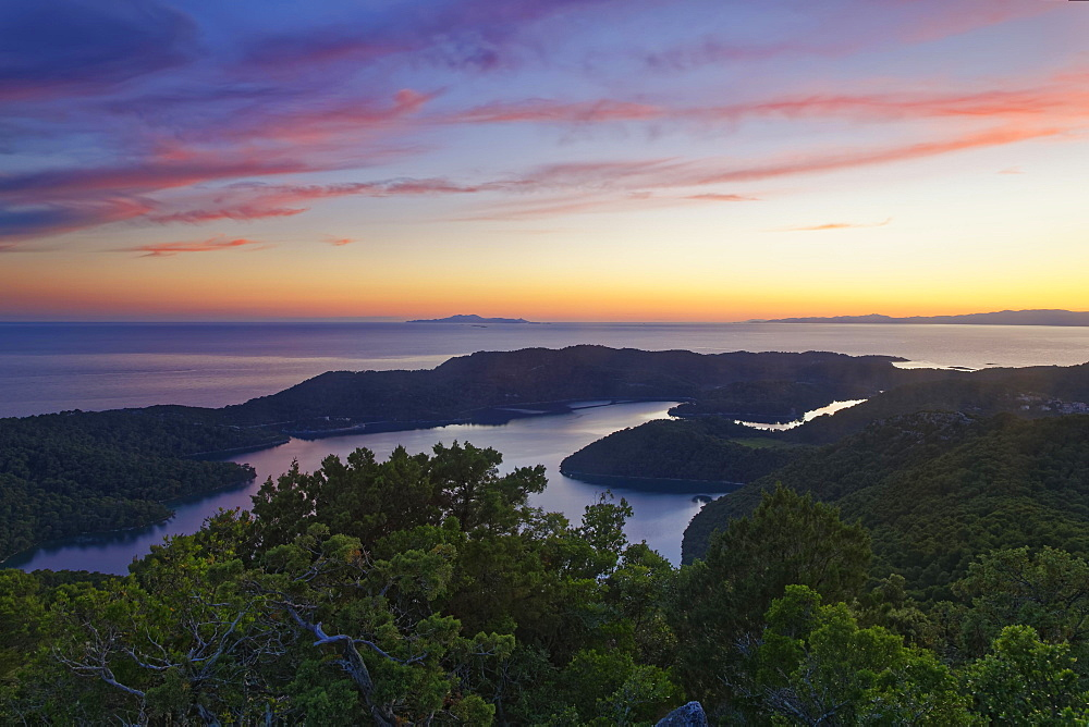Sunset from the view point Montokuc in the national park Mljet, island Mljet, Dubrovnik-Neretva, Dalmatia, Croatia, Europe