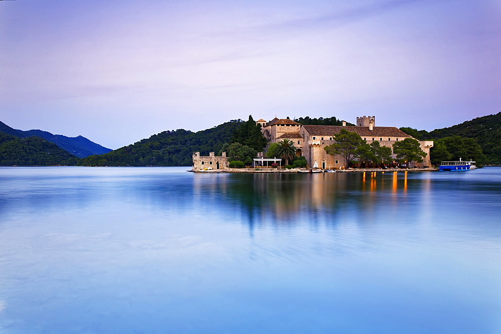 Benedictine monastery on the island of St. Maria in Veliko Jezero, Great Lake, National Park Mljet, Mljet Island, Dubrovnik-Neretva, Dalmatia, Croatia, Europe