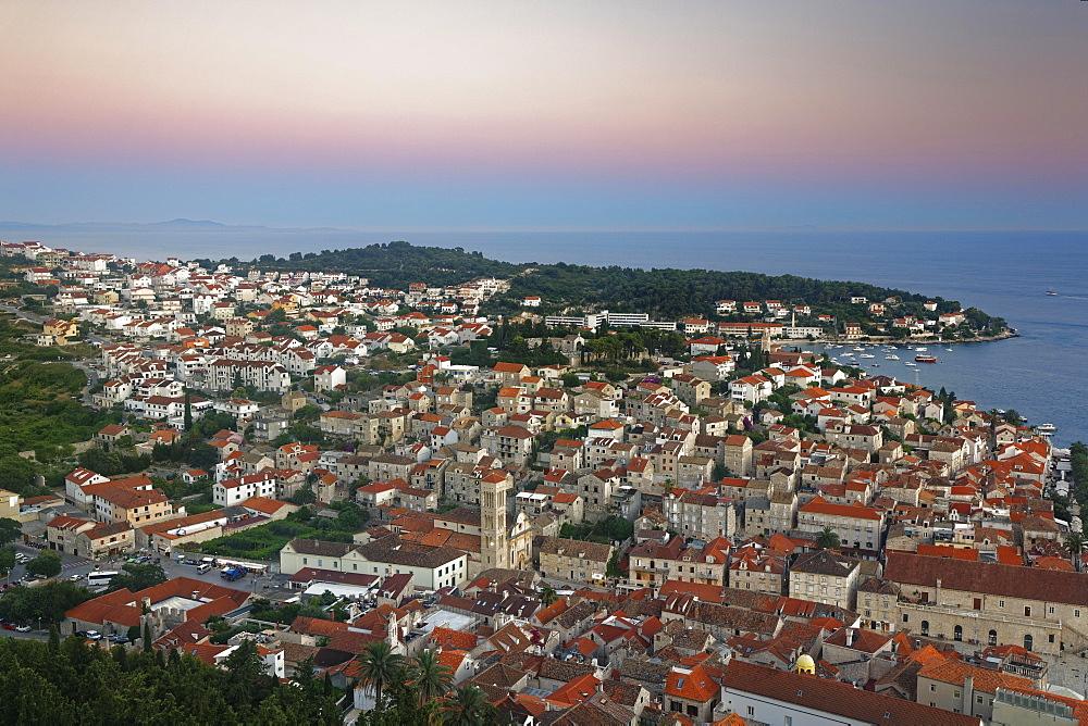 View from the fortress Spanjola on town Hvar, island of Hvar, Split-Dalmatia, Croatia, Europe