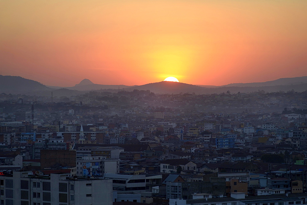 Sunset over capital city Antananarivo, Madagascar, Africa