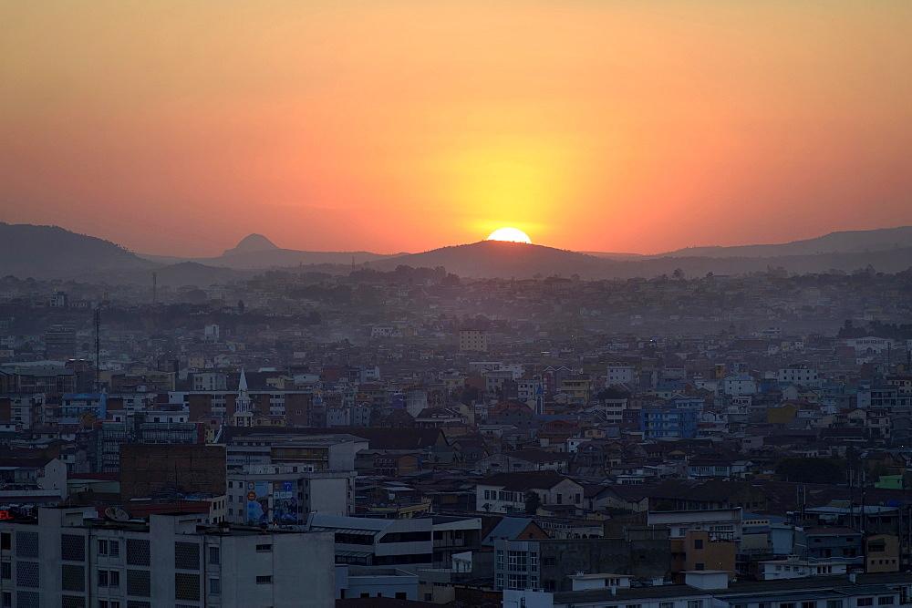 Sunset over capital city Antananarivo, Madagascar, Africa