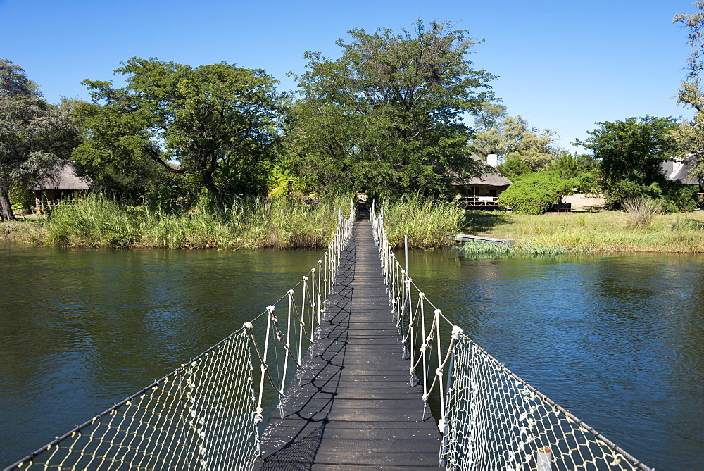 Suspension bridge over the Okavango River, Mobola Lodge, Rundu, Namibia, Africa