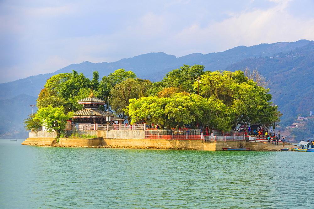 Island on Phewa Lake, Pokhara, Nepal, Asia