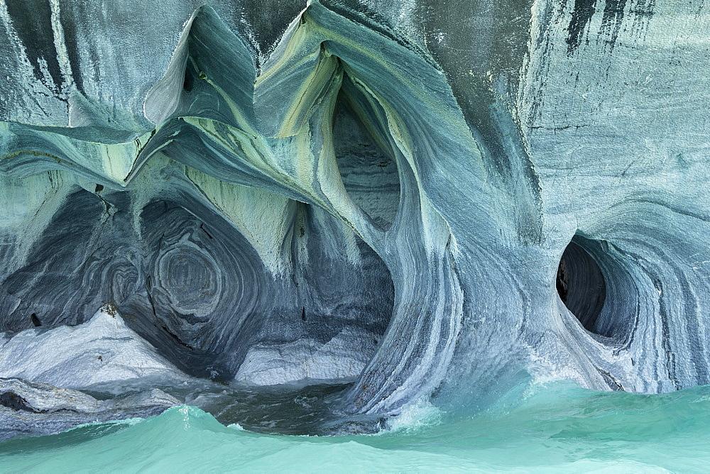 Bizarre rock formations of the marble caves, Cuevas de Marmol, Lago General Carrera, Puerto Rio Tranquilo, Región de Aysén, Chile, South America