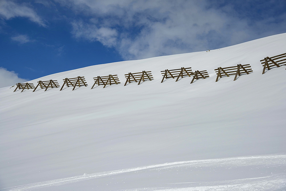 Avalanche control on the mountain slope with snow, Nauders, Tyrol, Austria, Europe