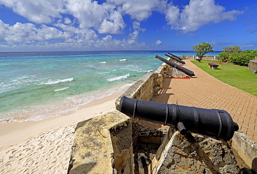 Needhams Point, Cannons on promenade by the sea, Bridgetown, Barbados, Lesser Antilles, Caribbean, West Indies, Central America
