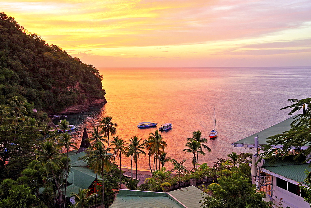 Bay with palm beach of the Anse Chastenet Hotel at sunset, Soufriere, St. Lucia, Lesser Antilles, West Indies, Caribbean Islands