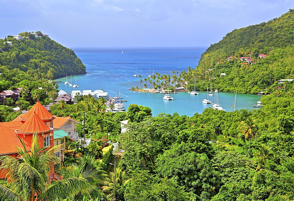 Overview of Marigot Bay near Castries, St. Lucia, Lesser Antilles, West Indies, Caribbean Islands
