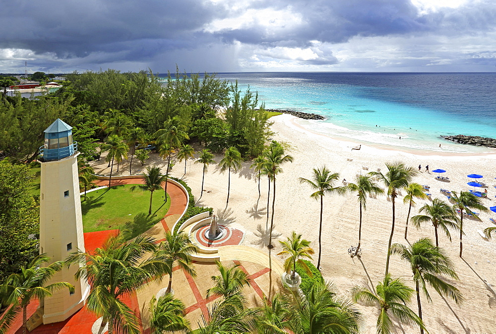 Sandy beach with palm trees and lighthouse, Needhams Point Beach, Brigdetown, Barbados, Caribbean, Lesser Antilles, West Indies, Central America