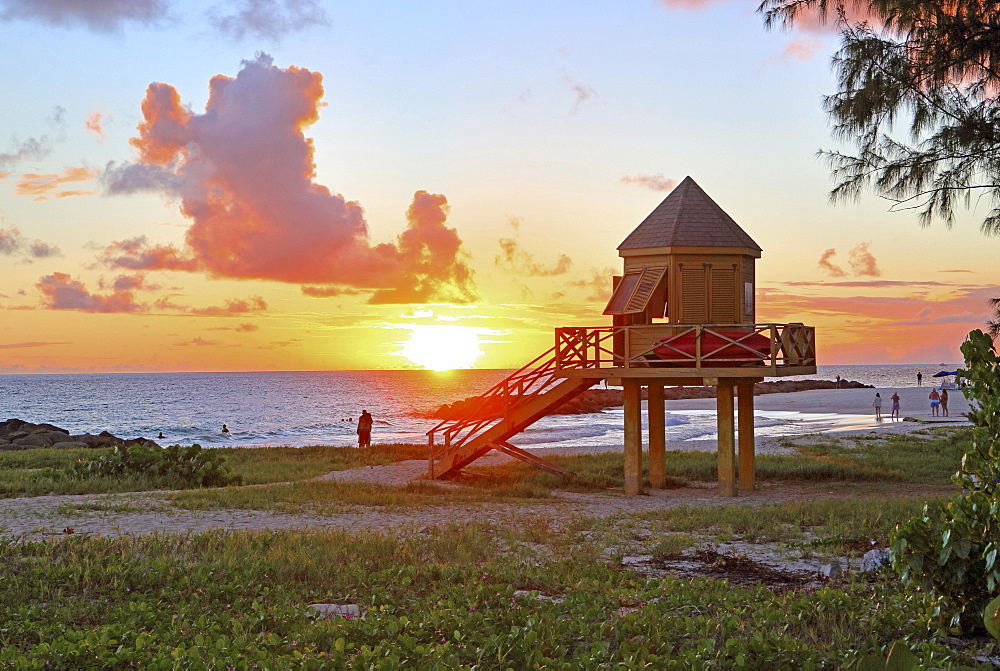 Typical lifeguard tower on Needhams Point beach at sunset, Brigdetown, Barbados, Caribbean, Lesser Antilles, West Indies, Central America