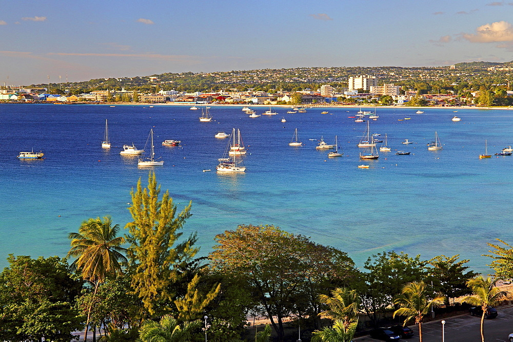 Carlisle Bay with view of the city in the evening sun, Bridgetown, Barbados, Lesser Antilles, West Indies, Caribbean Islands, Central America