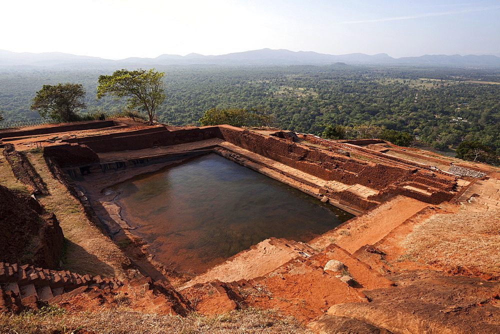 Cistern, former palace ruins, rock fortress on Sigiriya or Lion Rock, view of surrounding landscape, Central Province, Sri Lanka, Asia