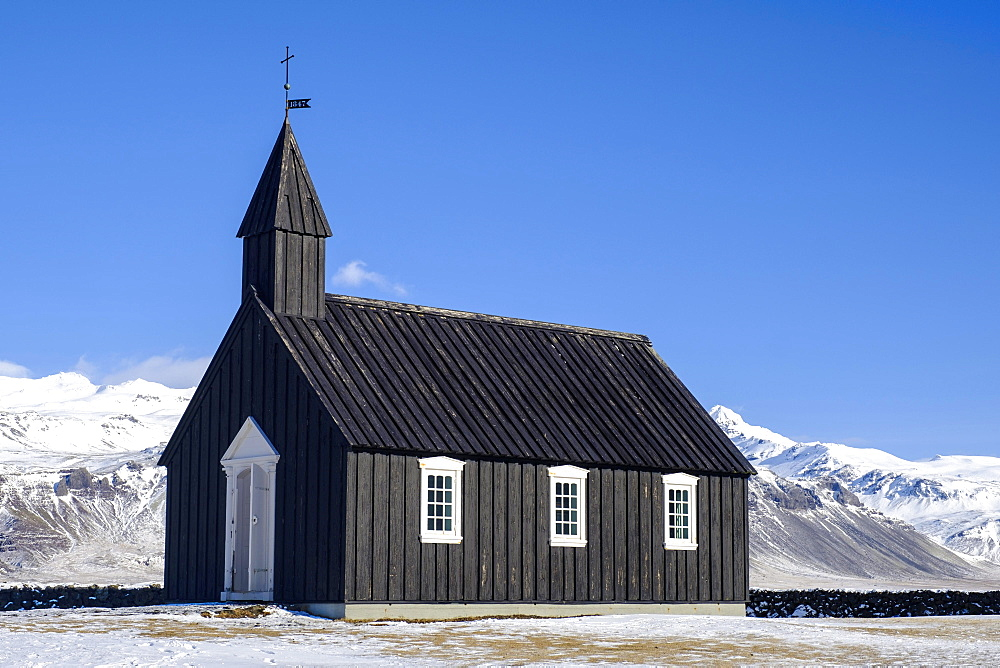 Black Church of Búðir, Snaefellsnes peninsula, Vesturland, Iceland, Europe