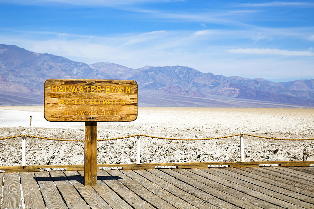 Lowest point in North America, Badwater Basin sign, Death Valley National Park, California, USA, North America
