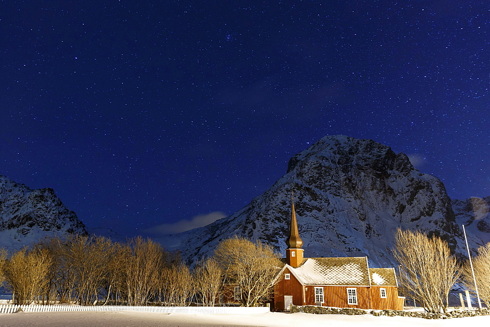 Church under the stars, Flakstad, Lofoten, Nordland, Norway, Europe