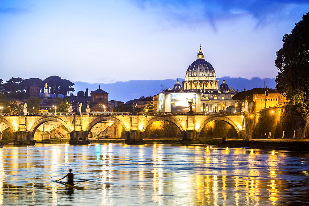 Saint Peter's Basilica with bridge over Tiber, dusk,  Rome, Italy, Europe