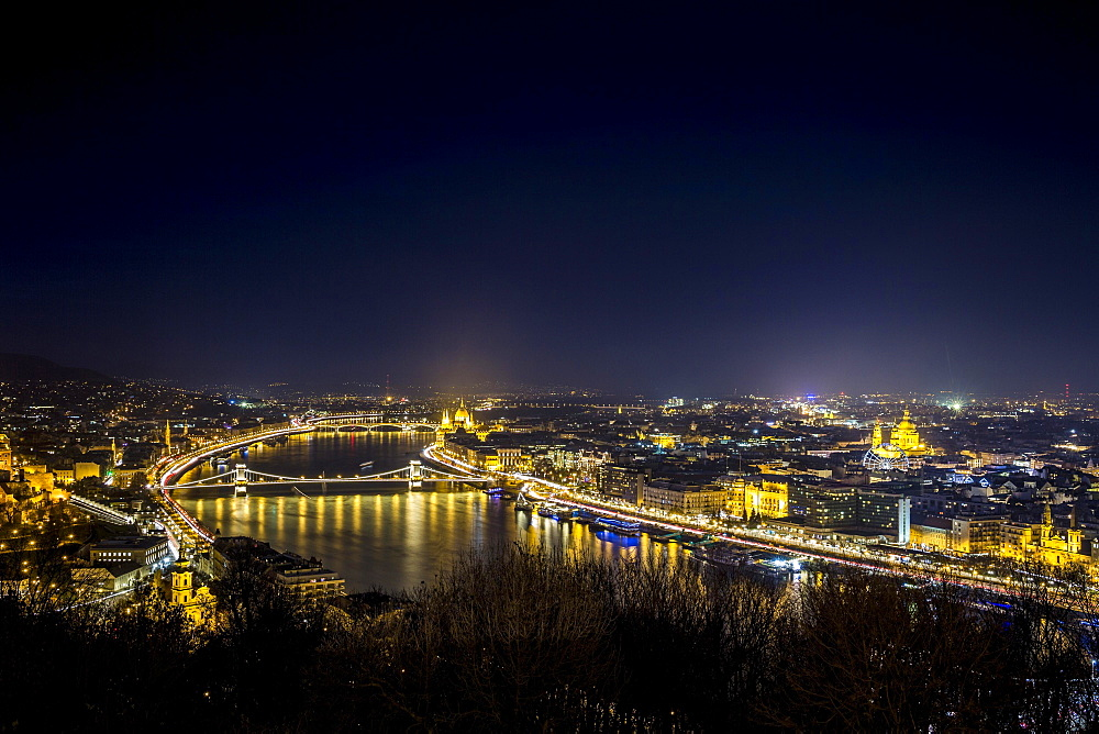 Night cityscape, Budapest, Hungary, Europe