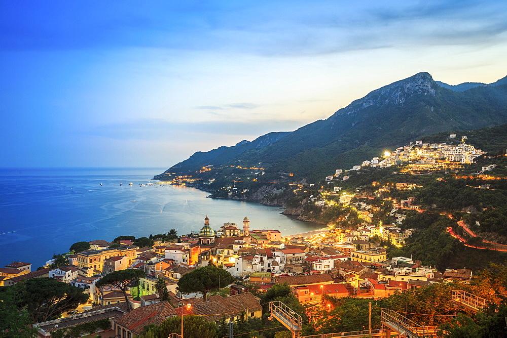 Vietri Sul Mare at dusk, Amalfi Coast, Salerno, Campania, Italy, Europe