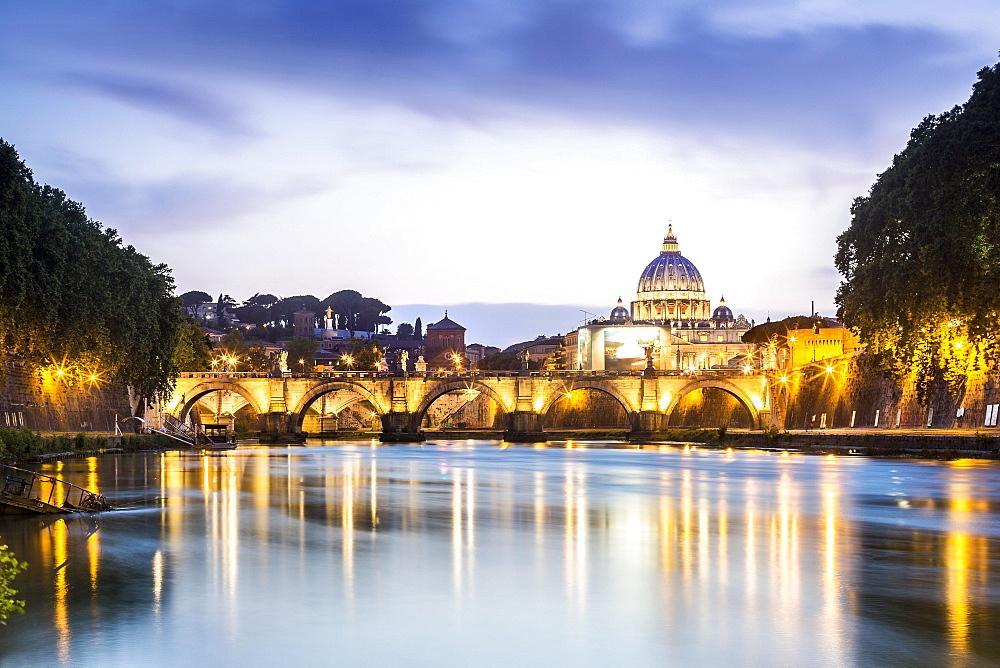 Saint Peter's Basilica with bridge over Tiber, dusk,  Rome, Italy, Europe