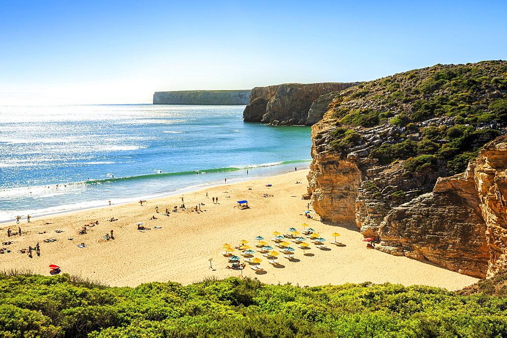 Beliche Beach next to Sagres, Saint Vincent Cape, Algarve, Portugal, Europe