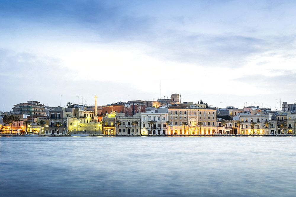 City view at dusk, Brindisi, Puglia, Italy, Europe