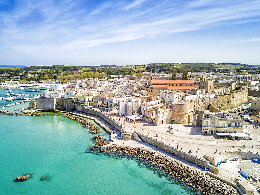 View with historic Aragonese castle, Otranto, Apulia, Italy, Europe
