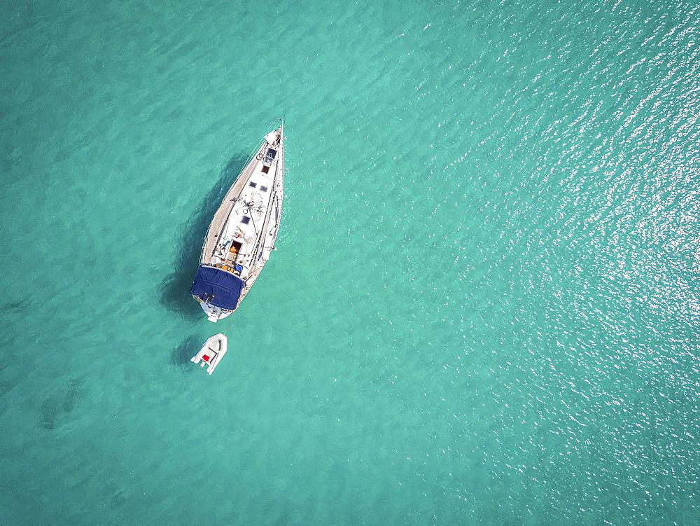 White yacht landing on Adriatic Sea, Ortanto, Italy, Europe