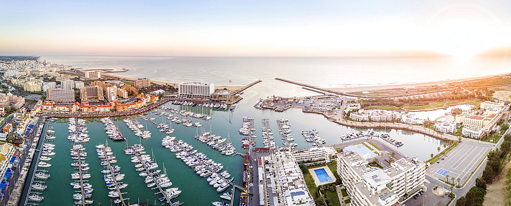 Panoramic, aerial view of marina, Vilamoura, Quarteira, Algarve, Portugal, Europe