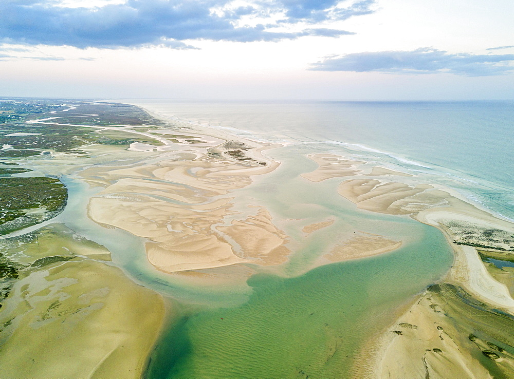 Aerial view from lagoon, Ria Formosa National Park, Fuseta, Algarve, Portugal, Europe