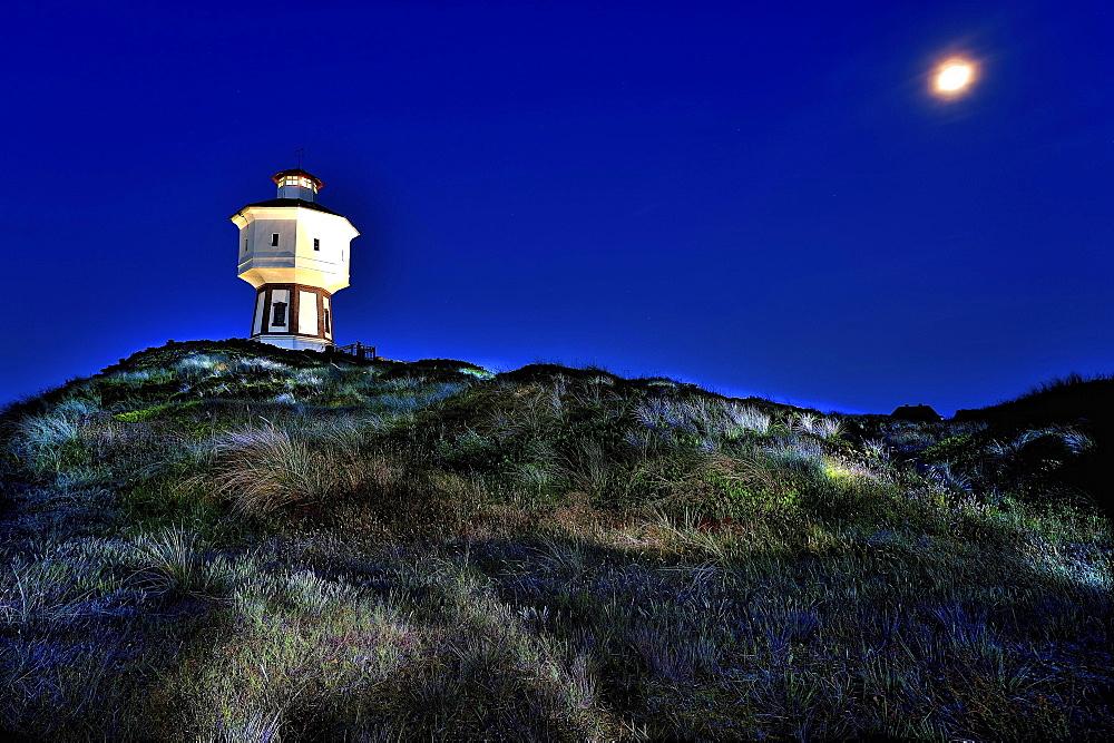 Water tower at night, Langeoog, East Frisian Islands, Germany, Europe